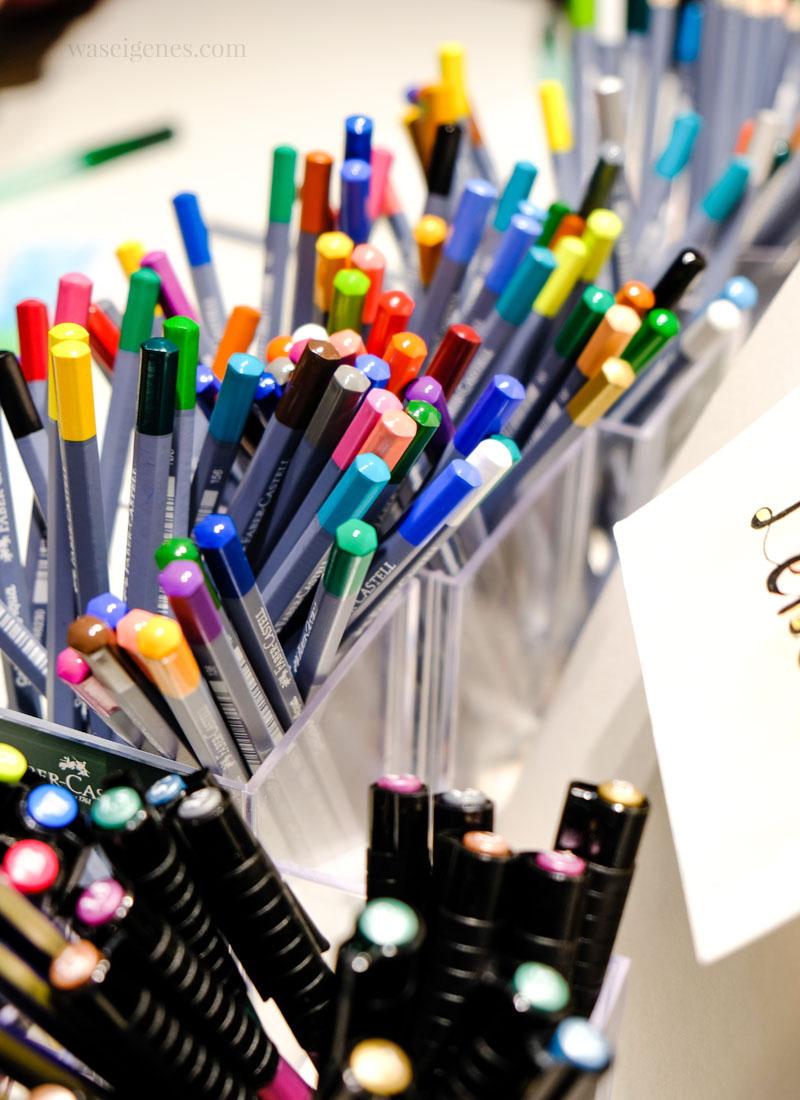 Buntstifte, Stifte von Faber Castell, Goldfaber Aqua, wasserlösliche Stifte, ein Foto von der Creativworld Messe Frankfurt