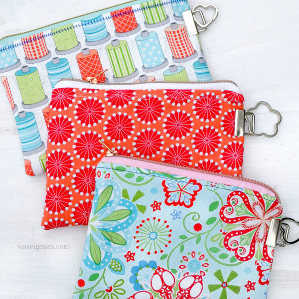 DIY Täschchen mit Schlüsselband Rohlingen selber nähen | Einfach Schlüsselband Enden an der Seite der Taschen anbringen und einen Schlüsselring befestigen | waseigenes.com