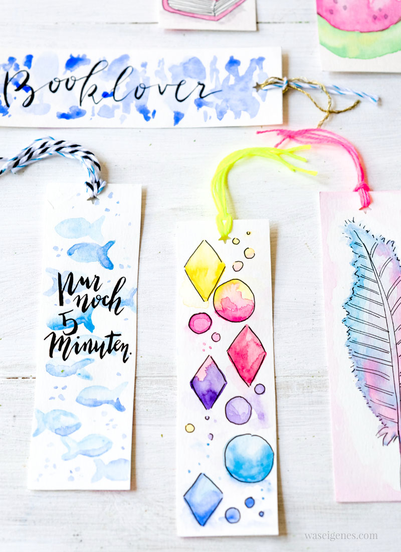 DIY Aquarell Lesezeichen malen | DIY watercolor bookmarks | waseigenes.com DIY Blog