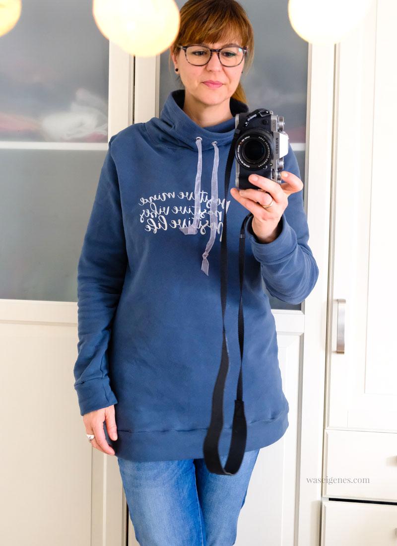DIY Sweatshirt mit Stehkragen | positive mind positive vibes positive life | Schnittmuster Nelly von Pattydoo | waseigenes.com
