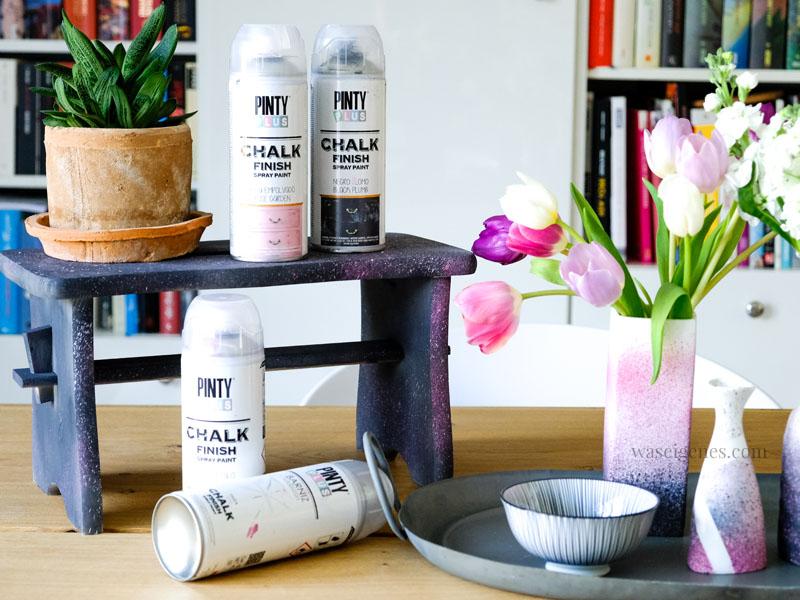 PintyPlus Chalk Spray, Kreidefarben zum Sprühen, DIY Vasen und Holzbank pimpen, waseigenes.com