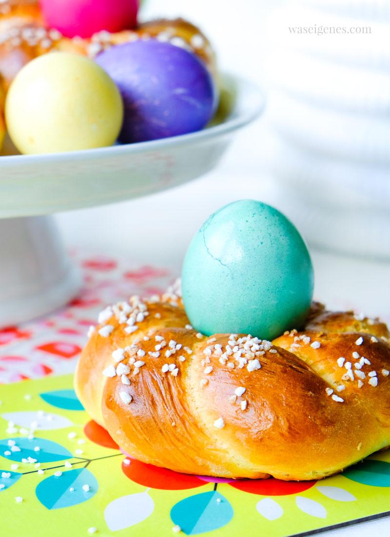 Ostern 2018: Bunte Eier und Zuckerkringel oder kleine Osterkränze mit Hagelzucker, waseigenes.com