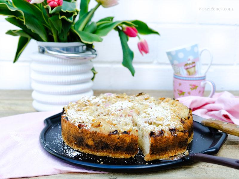 Backen im Frühling: Rhabarber Quarkkuchen mit Streuseln + vier weitere Kuchenrezepte | mit und ohne Thermomix | waseigenes.com