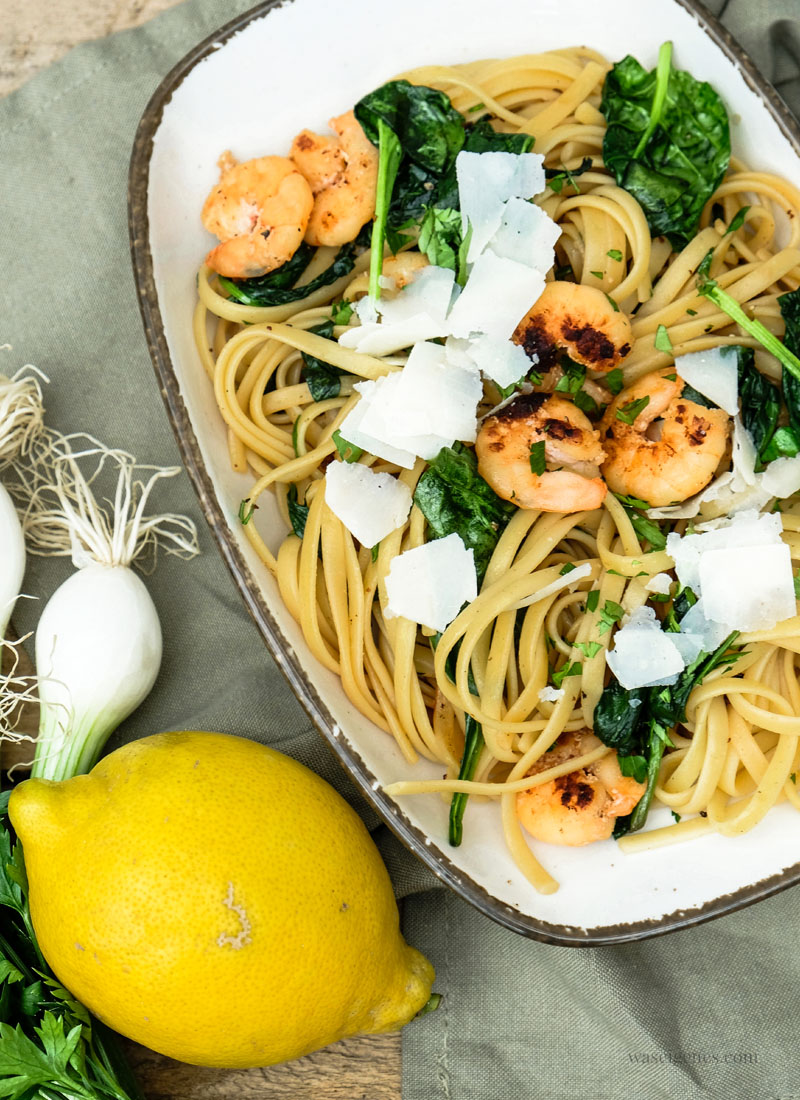 Rezept Linguine mit Shrimps und Spinat | waseigenes.com