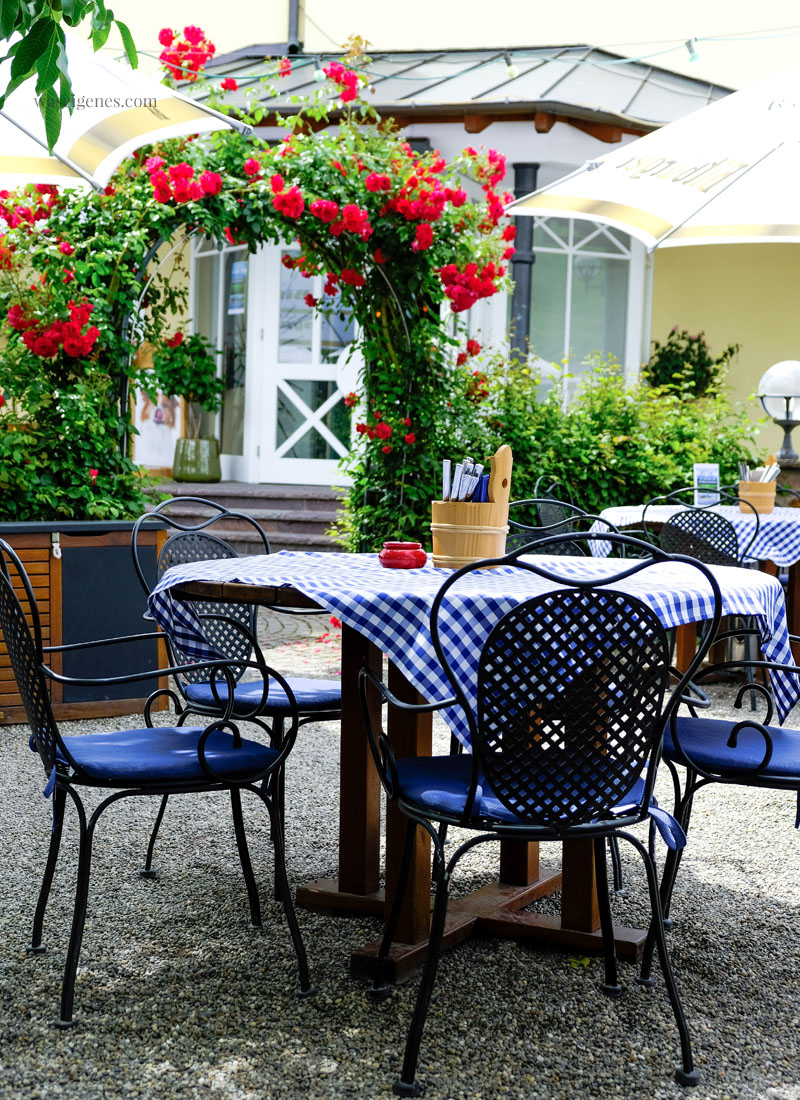 Bernkastel-Kues, Rheinland-Pfalz | Mülheim Mosel - Hotel Weisser Bär, Biergarten | waseigenes.com