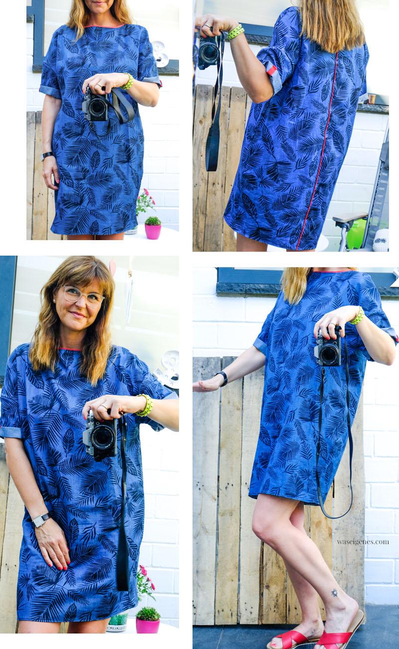 DIY Denim Sommerkleid mit Palmenprint, geteiltem Rücken, roter Paspel & aufgeschlagenen Ärmeln | DIY fashion | waseigenes.com