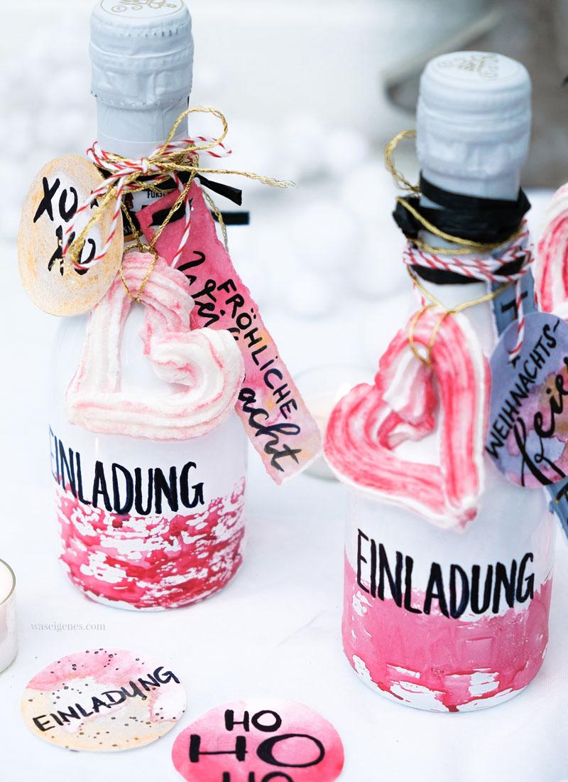 DIY Flaschenpost Einladung gestalten | Upcycling Sektflaschen | #Aquarell #Einladungen #Sektflaschen | waseigenes.com