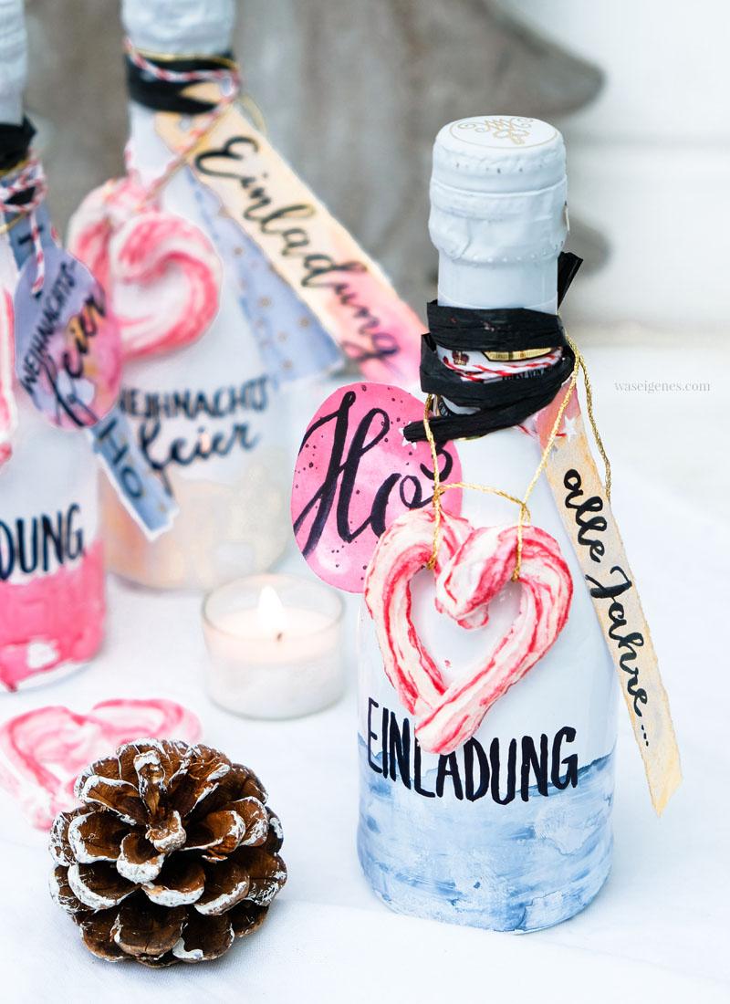 DIY Flaschenpost Einladung gestalten | Upcycling Sektflaschen | #Aquarell #Einladungen #Sektflaschen #Flaschenpost | waseigenes.com