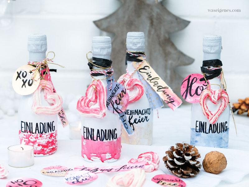 DIY Flaschenpost Einladung gestalten | Upcycling Sektflaschen | #Aquarell #Einladungen #Sektflaschen #Flaschenpost #FürstvonMetternich | waseigenes.com
