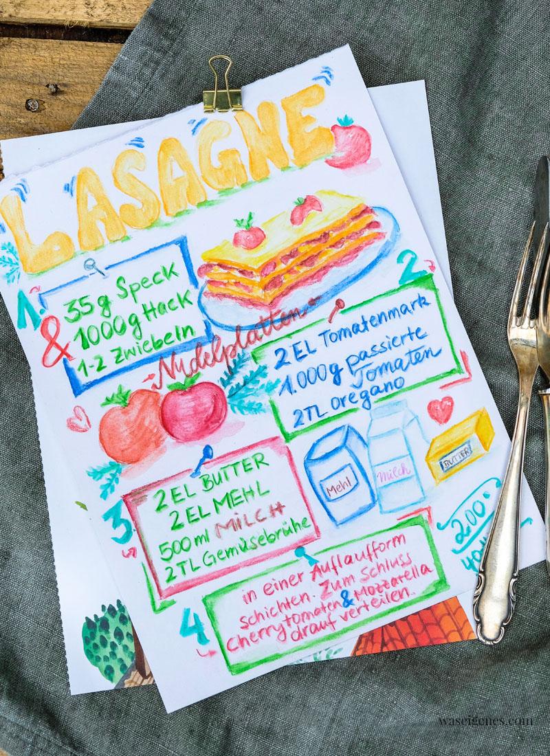 Rezept Lasagne | gemaletes und gelettertes Rezept | #bineaquarelliert | waseigenes.com