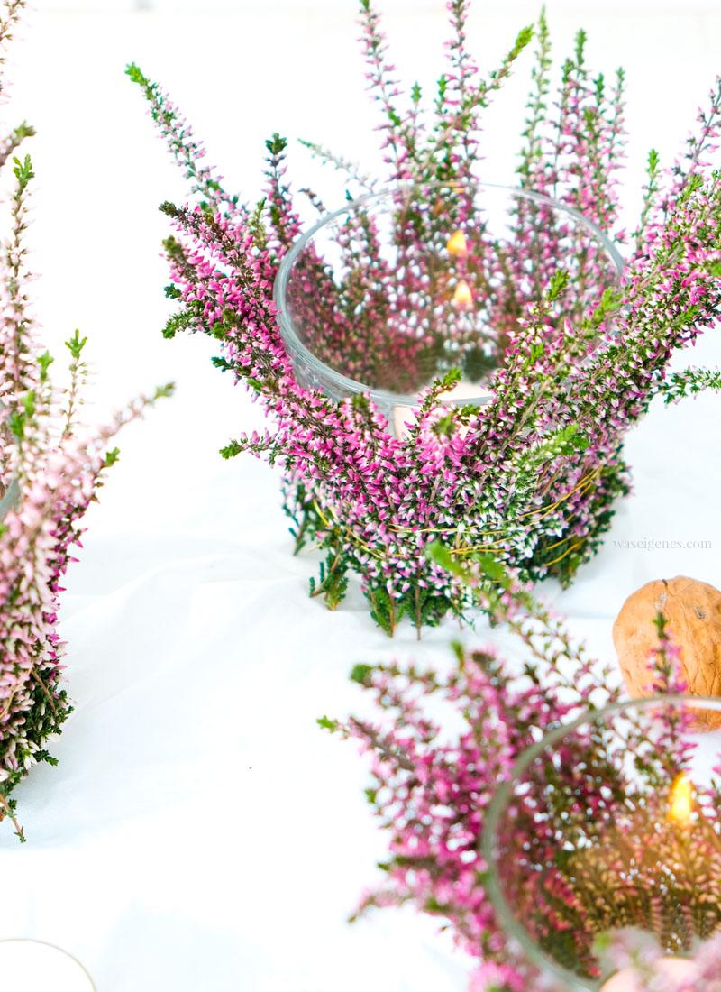 DIY Heidekraut & Teelichter -  eine hübsche Tischdeko im Herbst | #heidekraut #erica #diy #teelichter #herbstdeko #we #waseigenes waseigenes.com