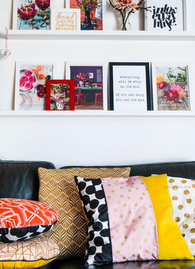 Treffpunkt Sofaecke: DIY Kissenbezüge in knalligen Herbsttönen | senfgelb, altrosa, schwarz, gold & orange | waseigenes.com #kissenbezüge #diy #sofakissen
