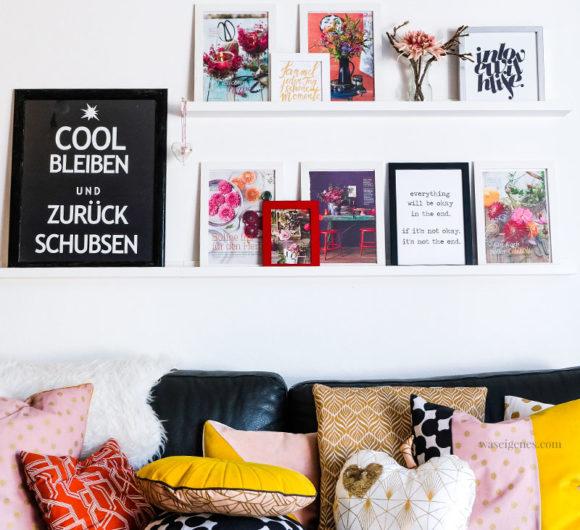 Treffpunkt Soafecke: DIY Kissenbezüge in knalligen Herbsttönen | senfgelb, altrosa, schwarz, gold & orange | waseigenes.com #kissenbezüge #diy #sofakissen #apfelkissen