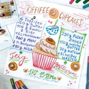 Rezept Toffifee Cupcakes | #watercolorrecipe | #bineaquarelliert waseigenes.com