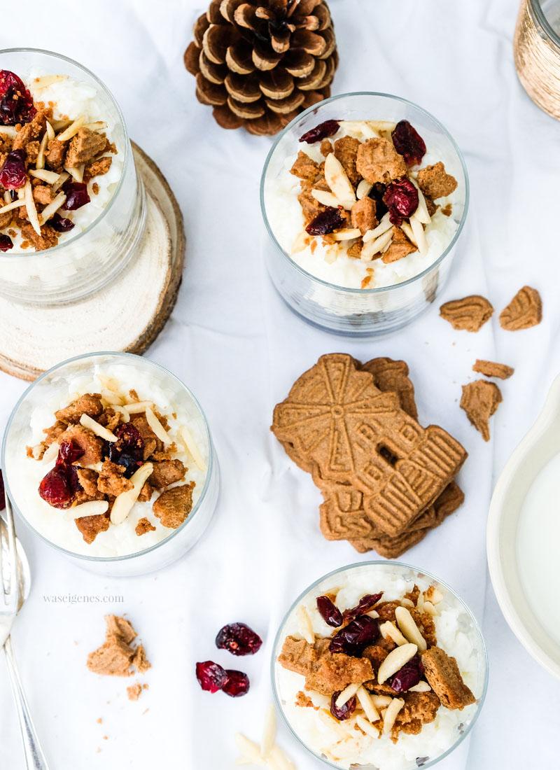 Rezept: Spekulatius Milchreis Tiramisu mit Cranberries, Mandelstifen & Amaretto, waseigenes.com #milchreis #dessert #rezept #weilBionichtgleichBioist
