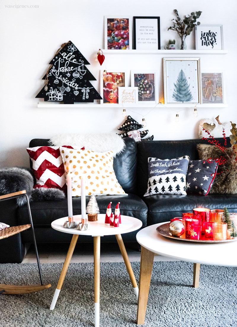 Weihnachtsdeko 2018, unser Wohnzimmer in rot, grün gold und grau, waseigenes.com #weihnachtsdeko #wohnzimmer #gemütlicheweihnachten