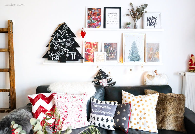 Weihnachtsdeko - Bilderleiste, Fotos, Prints und Zeitschrifte, DIY handletterling Tafel Weihnachtsbaum, Wohnzimmer, DIY Sofakissen, waseigenes.com