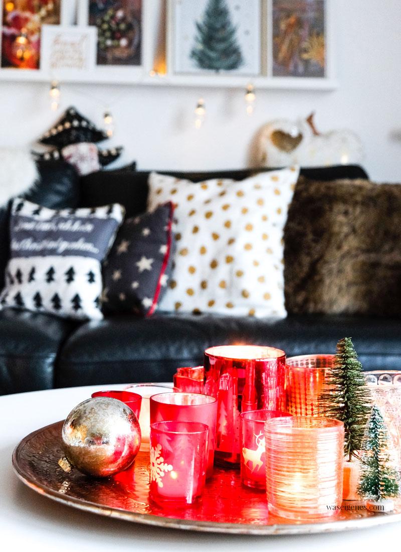 Weihnachtsdeko, rot & gold, Teelichtgläser, Wohnzimmer, waseigenes.com