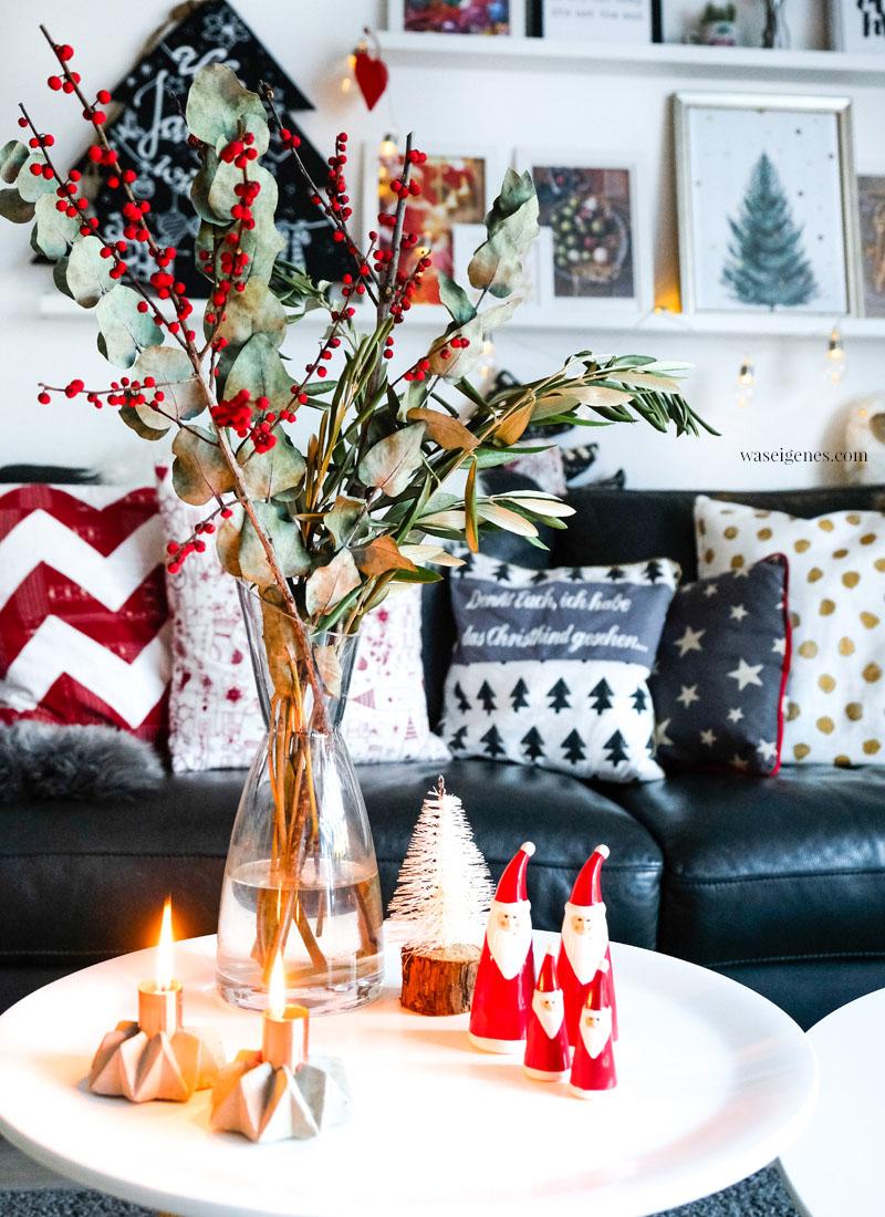 Weihnachtsdeko 2018, rot, grün, grau #olivenzweige #eukalyptus waseigenes.com #weihnachtsdeko