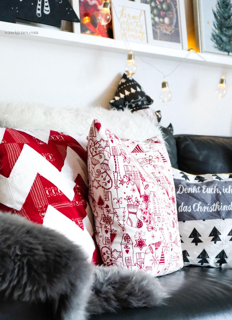 Weihnachtsdeko - DIY Sofakissen, selbst genähte Kissenbezüge, Weihnachtsstoffe, waseigenes.com