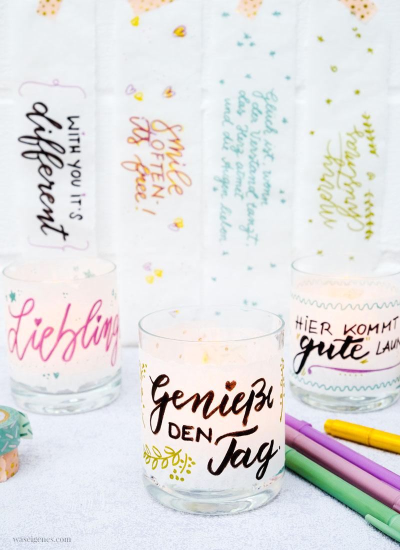 Last minute Geschenk Idee: Teelichtgläser mit schönen Sprüchen aufpeppen | waseigenes.com