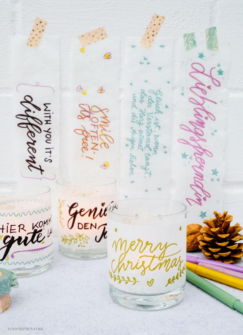 Last minute Geschenk Idee: Schöne Sprüche auf Butterbrotpapier schreiben und das um ein Glas kleben, Teelicht rein stellen | waseigenes.com