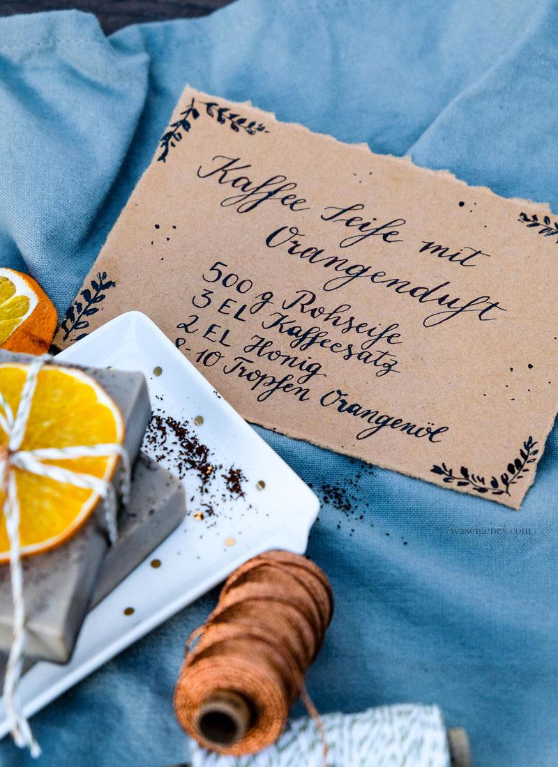 DIY Kaffee Seife, Kaffee Seife mit Orangenduft selber machen, waseigenes.com | #kaffeeseife #diy #seifeselbermachen #waseigenesblog #handlettering
