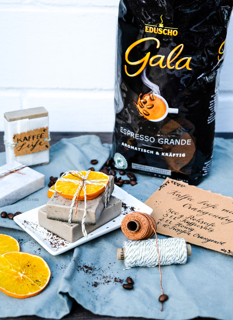 DIY Kaffee Seife, Kaffee Seife mit Orangenduft selber machen, waseigenes.com   #kaffeeseife #diy #seifeselbermachen #waseigenesblog
