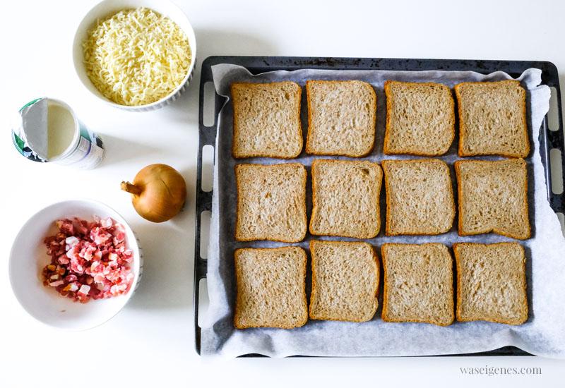 Rezept: Flammkuchen Toast, super schnell und einfach, das perfekte Partyfood | #rezept #schnell #einfach #flammkuchentoast #flammkuchen #fingerfood #partyfood