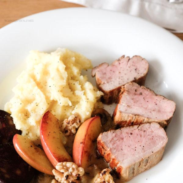 Rezept: Schweinefilet mit Sellerie-Kartoffelpüree und einer feinen Quitten-Senf-Soße. Dazu schmeckt: Lady Dorst Grauburgunder; waseigenes.com