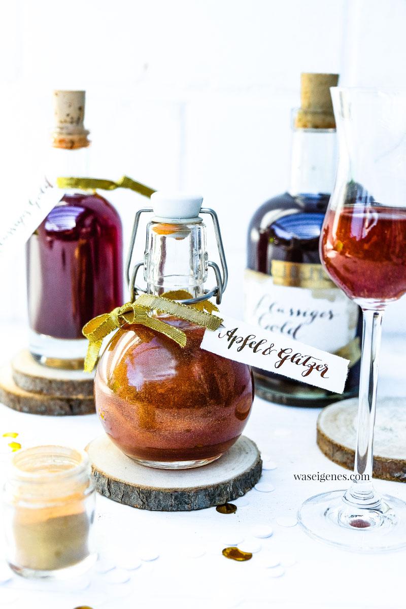 Rezept: Apfel Caramel Likör mit Glitzer ~Flüssiges Gold | Apfel Karamel Likör | waseigenes.com | #apfellikör #caramel #glitzer #glitzerlikör #schenkeausderküche #glitterlikör #rezept #einfach