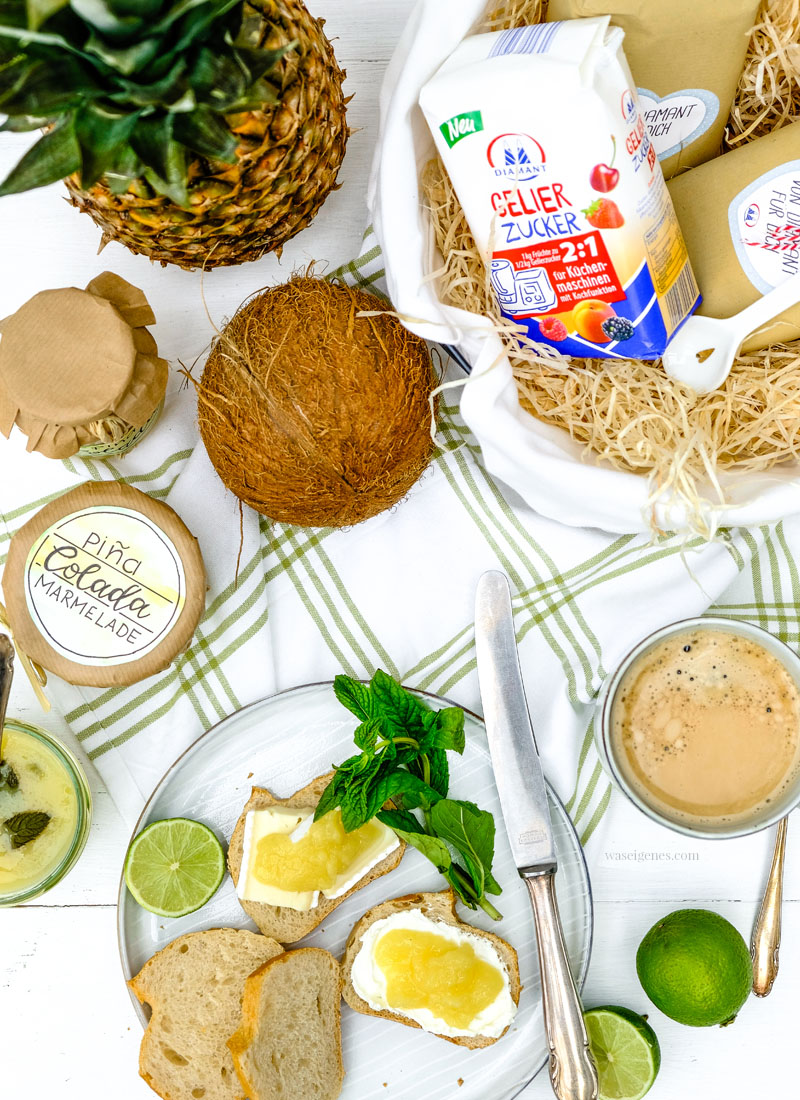 Marmeladenrezept: Piña Colada Marmelade (Kokos Ananas Marmelade) mit einem Schuss Rum und Minze | waseigenes.com #Marmelade #PinaColada