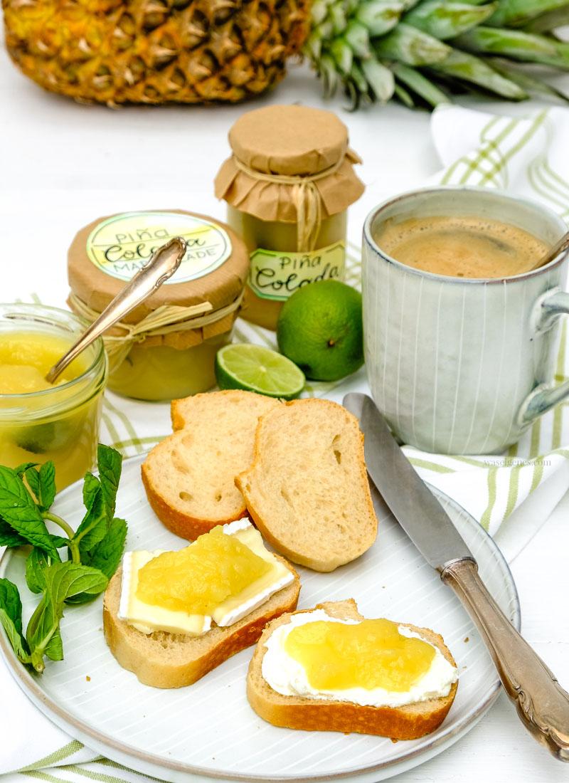 Rezept: Piña Colada Marmelade (Kokos Ananas Marmelade) mit einem Schuss Rum und Minze selber kochen | waseigenes.com