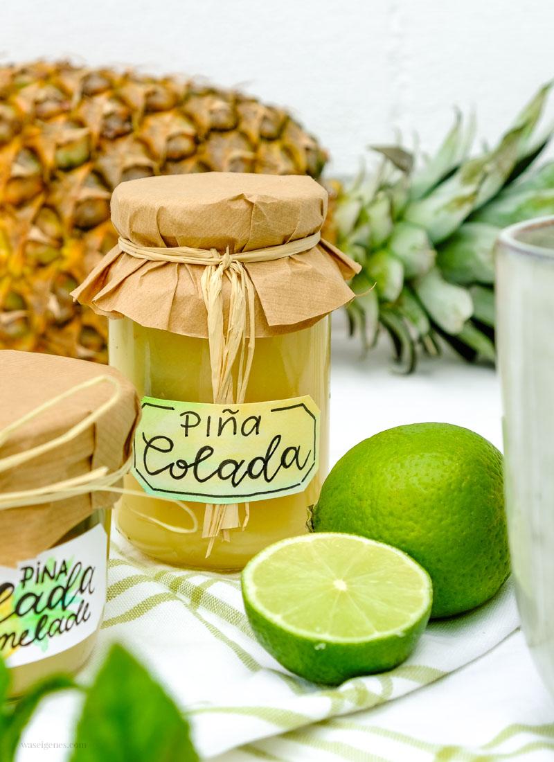Rezept: Piña Colada Marmelade. Selbst gekochte Kokos Ananas Marmelade mit einem Schuss Rum und Minze | waseigenes.com
