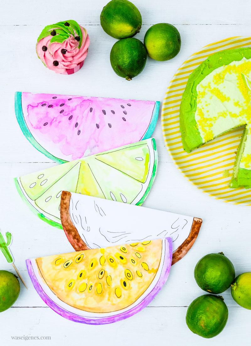 DIY Aquarell Einladungskarten: Limette, Kokosnuss, Wassermelone und Maracuja, waseigenes.com