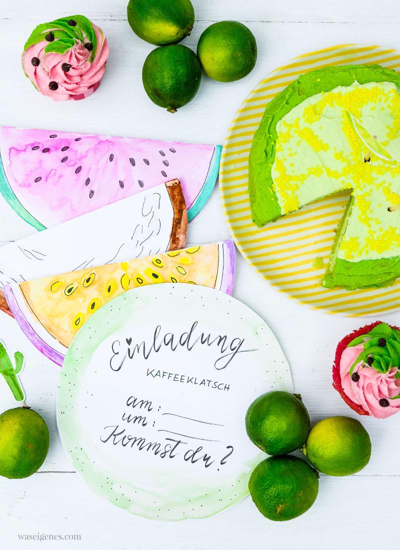 DIY Aquarell Einladungskarten: Limette, Kokosnuss, Wassermelone und Maracuja, Limetten Törtchen, waseigenes.com