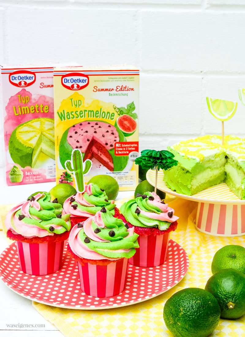 Dr. Oetker Backmischung Summer Edition: Limette, Wassermelone, Kokosnuss, Maracuja. Limetten Törtchen und Wassermelonen Cupcakes, waseigenes.com