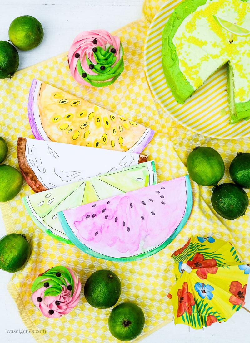 DIY Aquarell Einladungskarten: Wassermelone, Limette, Kokosnuss, und Maracuja, waseigenes.com