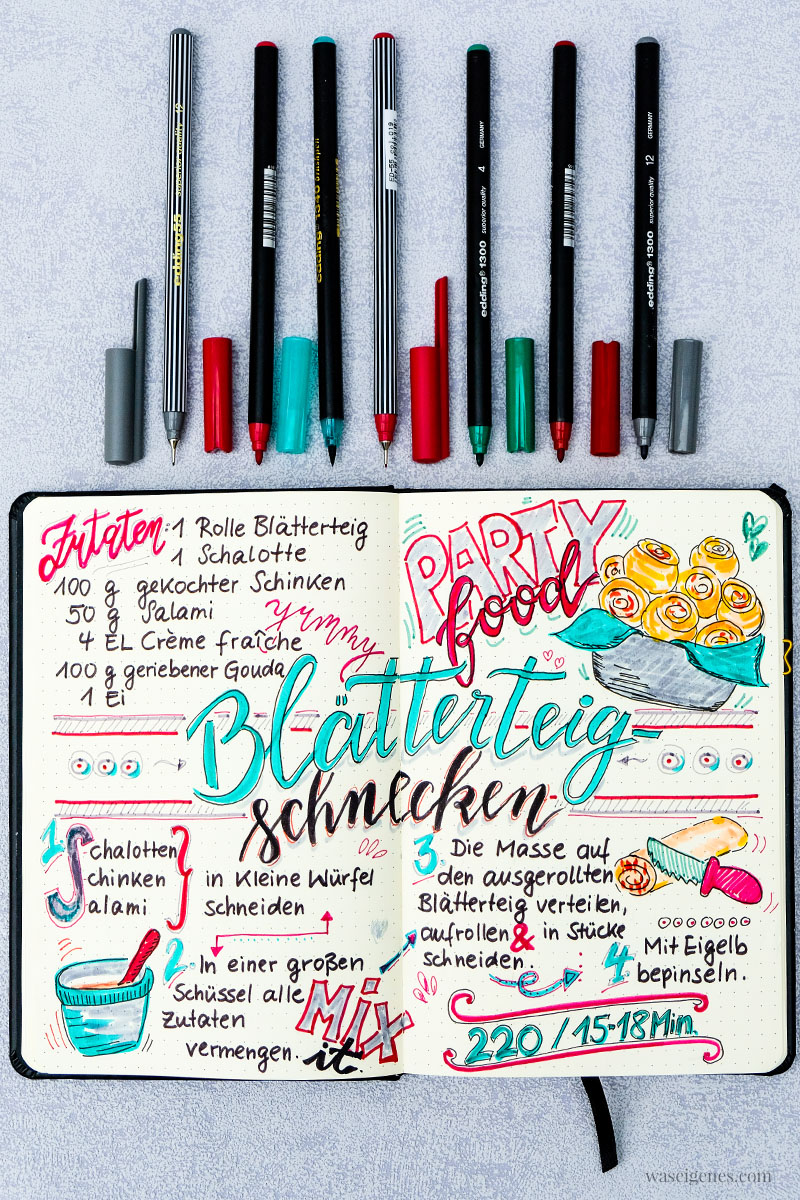Rezeptkunst | illustriertes Rezept: Blätterteigschnecken mit Schinken, Salami und Käse von waseigenes.com