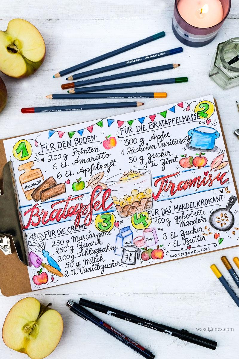 Rezeptkunst | illustriertes Rezept: Bratapfel Tiramisu von waseigenes.com,  #Aquarell #watercolor