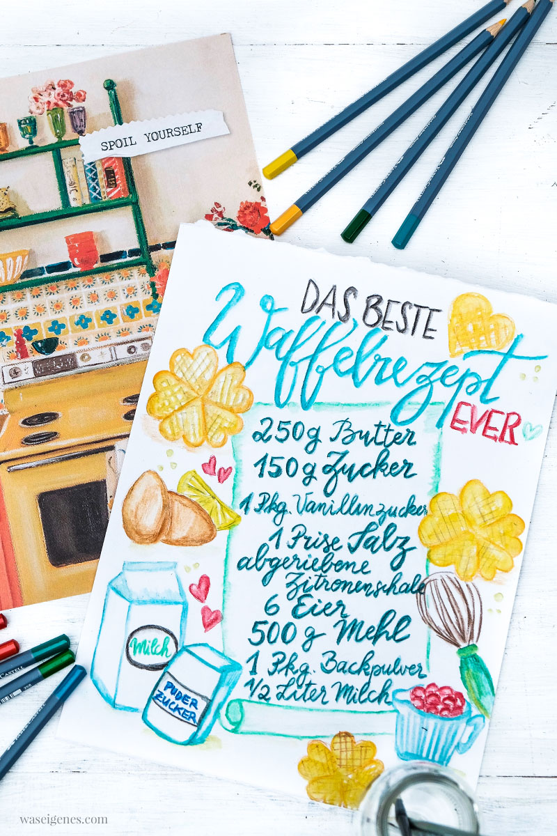 Rezeptkunst | illustriertes Rezept: Das beste Waffelrezept ever von waseigenes.com,  #Aquarell #watercolor