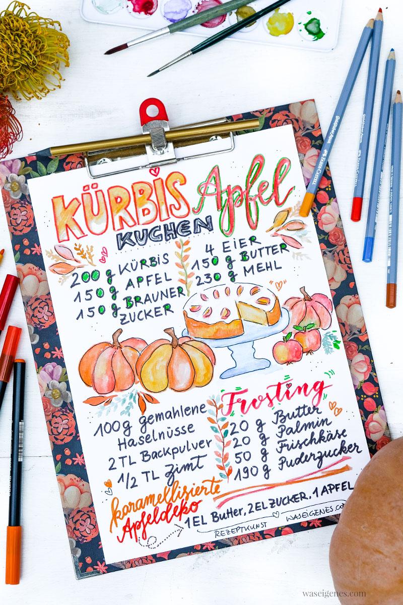 Rezeptkunst | illustriertes Rezept: Kürbis Apfelkuchen von waseigenes.com