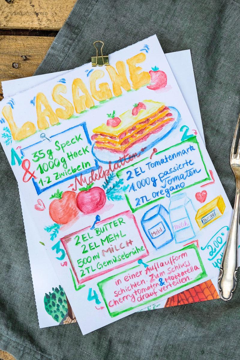 Rezeptkunst | illustriertes Rezept: Lasagne von waseigenes.com,  #Aquarell #watercolor