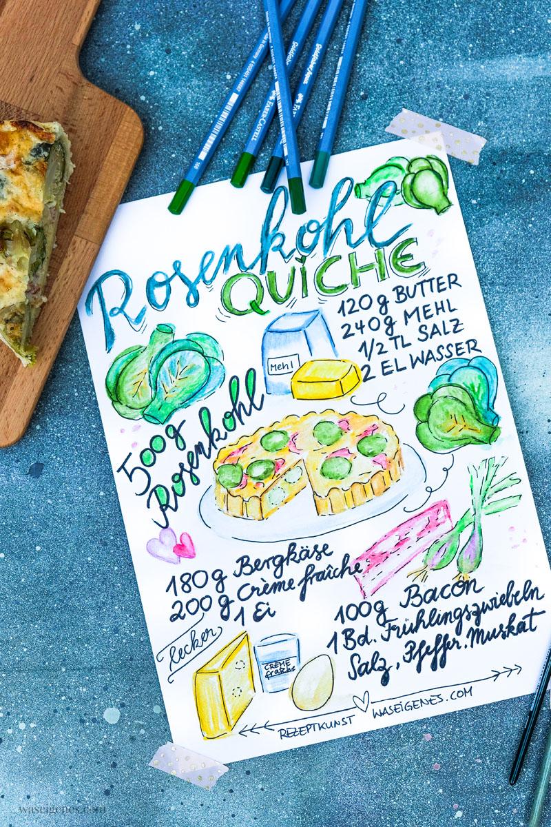 Rezeptkunst | illustriertes Rezept: Rosenkohlquiche von waseigenes.com,  #Aquarell #watercolor