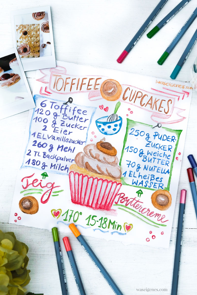 Rezeptkunst | illustriertes Rezept: Toffifee Cupcakes von waseigenes.com, #Aquarell #watercolor
