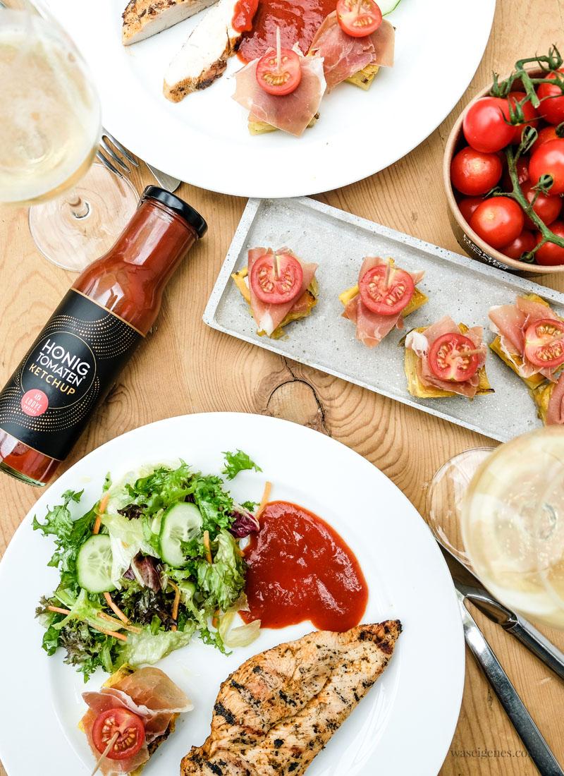 Tortilla Würfel und Honigtomaten Ketchup - köstliches Sommeressen | waseigenes.com