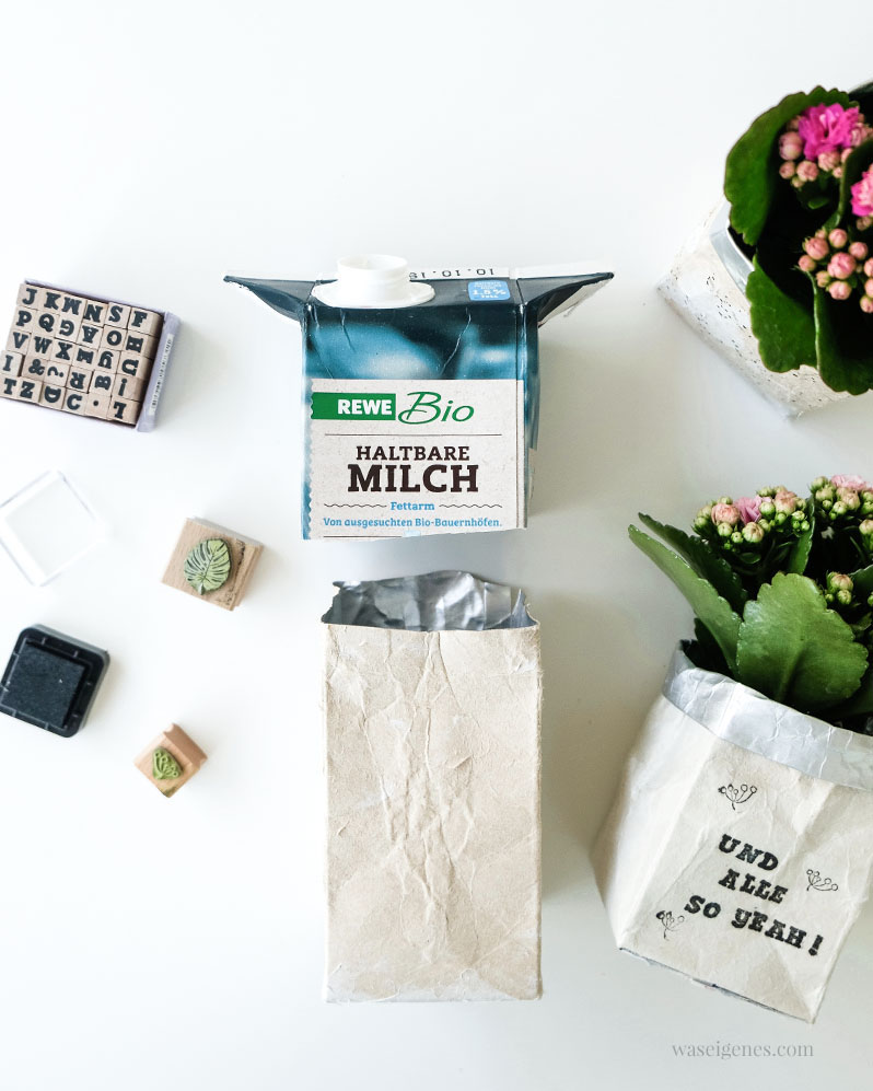 DIY Upcycling/ Recycling: Aus Milchtüten Blumentöpfe basteln & bestempeln | waseigenes.com