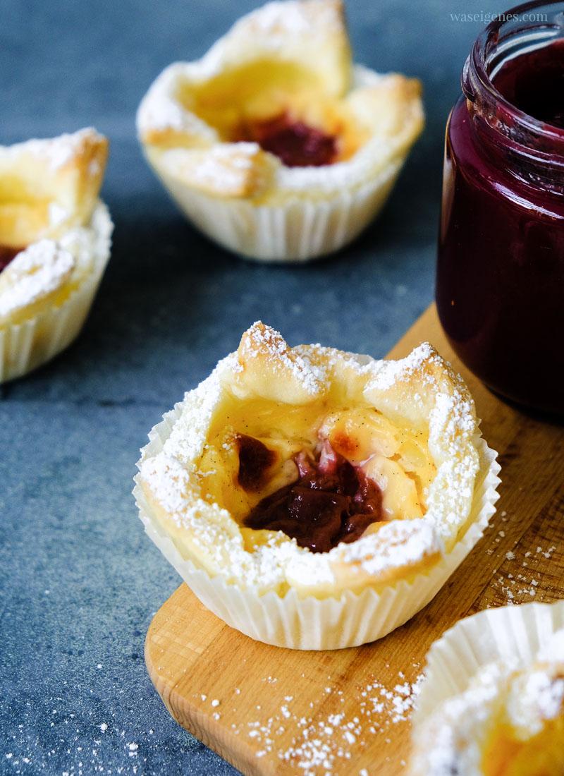 Rezept: Blätterteig-Pudding-Teilchen mit Kirschmarmelade | Thermomix Rezept | waseigenes.com