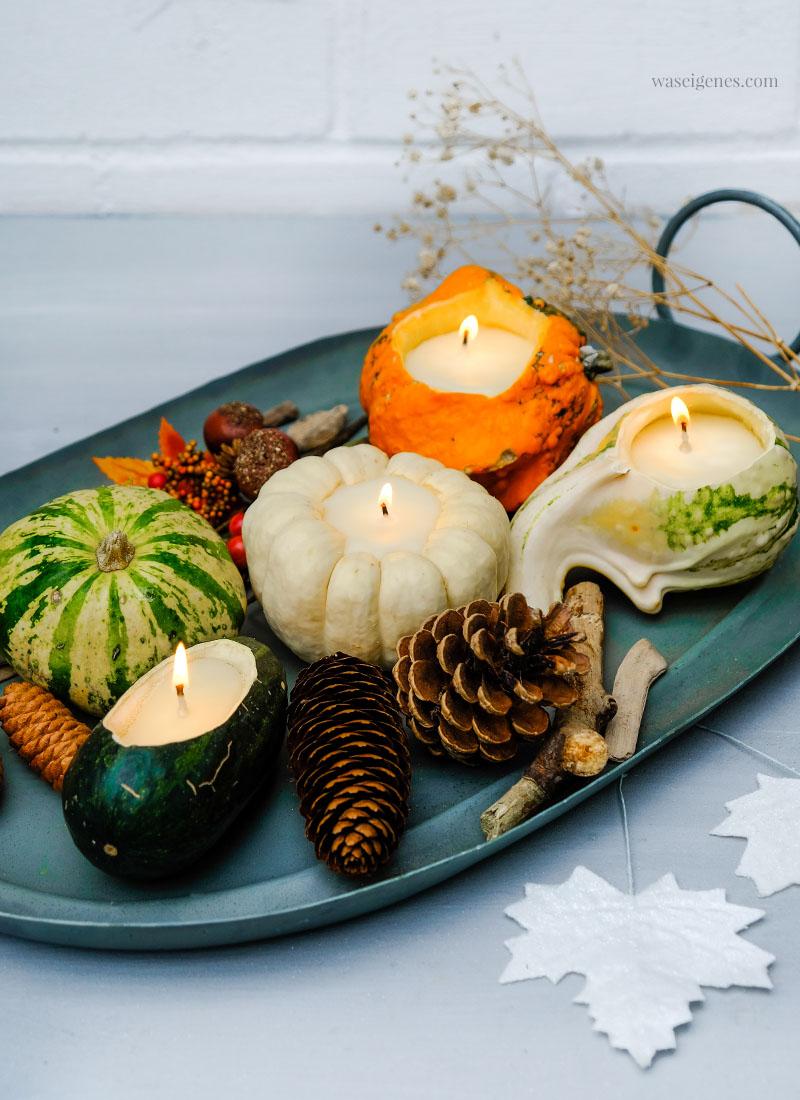 DIY Kürbis Kerzen - Flüssiges Wachs in ausgehöhlte Zierkürbisse gießen, einen Docht hineinstellen | waseigenes.com