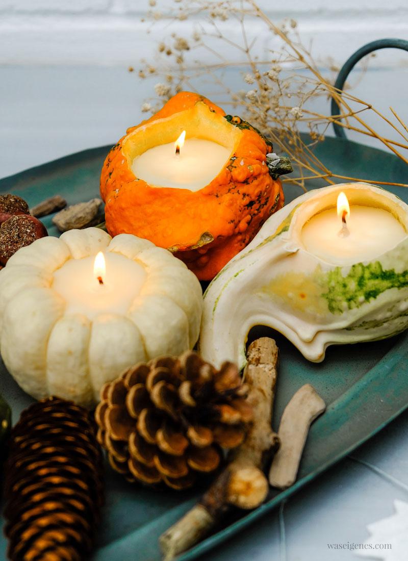 Herbst DIY: Kürbis Kerzen - Ausgehöhlte Zierkürbisse, flüssiges Wachs, Kerzendocht | DIY Anleitung #KürbisKerzen #DIY | waseigenes.com